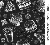 fast food seamless pattern.... | Shutterstock .eps vector #759821803