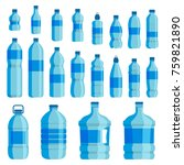 plastic bottle water set. blue... | Shutterstock .eps vector #759821890
