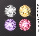 disco ball on isolated... | Shutterstock .eps vector #759823333
