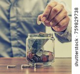 save money for retirement and... | Shutterstock . vector #759829738