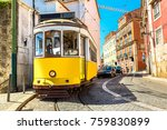 Vintage tram in Lisbon, Portugal in a summer day