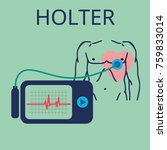 daily monitoring of ecg. holter ... | Shutterstock .eps vector #759833014
