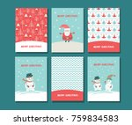 christmas greeting card with... | Shutterstock .eps vector #759834583