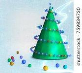 3d  christmas background | Shutterstock . vector #759834730