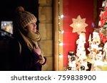 girl choosing christmas... | Shutterstock . vector #759838900
