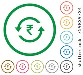 rupee pay back flat color icons ... | Shutterstock .eps vector #759839734