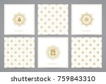 luxury retro x mas cards with... | Shutterstock .eps vector #759843310