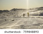father and son skiing together. ... | Shutterstock . vector #759848893