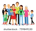 big family  mom  dad   kids and ... | Shutterstock .eps vector #759849130