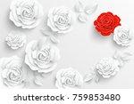 paper flower. white roses cut... | Shutterstock .eps vector #759853480