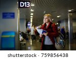young woman at the airport ... | Shutterstock . vector #759856438