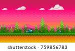pixel art seamless background.... | Shutterstock .eps vector #759856783