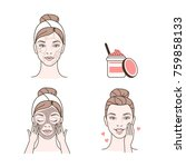 steps how to make facial... | Shutterstock .eps vector #759858133