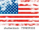 usa flag snowflake background | Shutterstock . vector #759859333