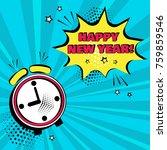 alarm clock with yellow comic... | Shutterstock .eps vector #759859546