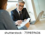 woman in banker's office... | Shutterstock . vector #759859636
