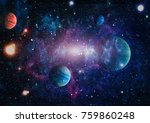planets  stars and galaxies in... | Shutterstock . vector #759860248
