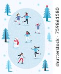 people skating on ice rink in... | Shutterstock .eps vector #759861580