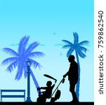 grandfather walking with his... | Shutterstock .eps vector #759862540