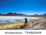 girl runing on the laguna verde ...   Shutterstock . vector #759863449