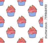 seamless cake pattern isolated... | Shutterstock .eps vector #759868450