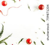 christmas frame with colorful... | Shutterstock . vector #759871204
