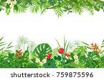 horizontal floral seamless... | Shutterstock .eps vector #759875596