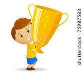 Vector illustration. Cartoon young winner with golden trophy cup - stock vector