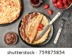 plate with thin pancakes with... | Shutterstock . vector #759875854