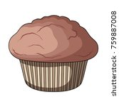 chocolate muffin with paper... | Shutterstock .eps vector #759887008