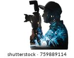 double exposure of young male... | Shutterstock . vector #759889114