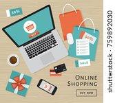 online shopping concept. online ... | Shutterstock .eps vector #759892030