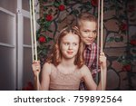 nice children boy and girl have ... | Shutterstock . vector #759892564