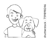 boy with cute dog | Shutterstock .eps vector #759898246
