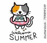 welcome summer cute cat were...   Shutterstock .eps vector #759899149