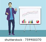 a handsome young guy showing... | Shutterstock .eps vector #759900370