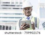 senior engineer man in suit and ... | Shutterstock . vector #759902176
