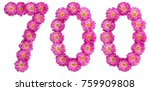 Small photo of Arabic numeral 700, seven hundred, from flowers of chrysanthemum, isolated on white background