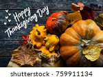 happy thanksgiving day concept  ...   Shutterstock . vector #759911134