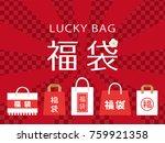 japanese lucky bag vector...