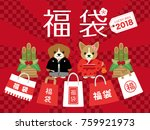 japanese lucky bag vector... | Shutterstock .eps vector #759921973