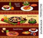 spanish food dinner ...   Shutterstock .eps vector #759922750