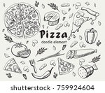set pizza  doodle element   Shutterstock .eps vector #759924604