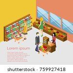 isometric interior of grocery... | Shutterstock .eps vector #759927418
