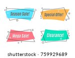 flat linear promotion ribbon... | Shutterstock .eps vector #759929689