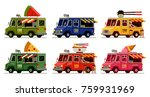 set of colorful food truck in... | Shutterstock .eps vector #759931969