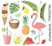 hand drawn summer doodle set ...   Shutterstock .eps vector #759932734