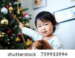 cute child  christmas image | Shutterstock . vector #759933994