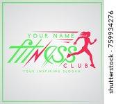 fitness club logo lettering... | Shutterstock . vector #759934276
