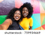 afro women decent taking selfie ... | Shutterstock . vector #759934669